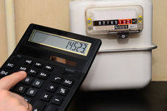 Calculation of utility bills on the counter Royalty Free Stock Image