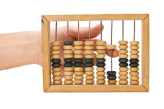 Calculation on wooden accounts Stock Photo