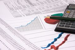 Calculations. Background with diagrams and calculations Stock Photo