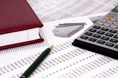 Calculations. Financial calculations with diagrams. Business background Stock Photos