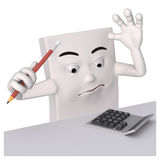 Calculations. Friendly 3d figure with isolated white background for symbolic purposes Stock Photography