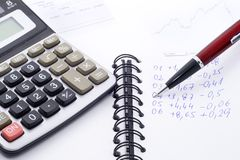 Calculations. Difficult financial calculations - economics background - close up Stock Photos