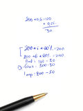 Calculations. Hand-written calculations on a paper royalty free stock images