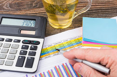 Calculations and analysis with tea. Calculations and analysis with cup of tea Royalty Free Stock Image