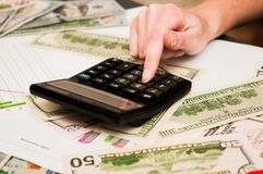 Calculations of financial calculations. Financial calculations royalty free stock image