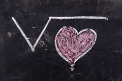 Calculations of love. Representation with chalk on the blackboard of calculations rappresentani love Royalty Free Stock Image