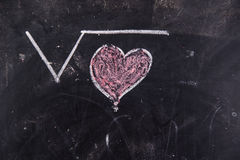 Calculations of love. Representation with chalk on the blackboard of calculations rappresentani love Stock Photos