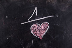 Calculations of love. Representation with chalk on the blackboard of calculations rappresentani love Stock Image