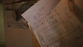 Calculations written on a piece of paper in furniture workshop or premises for wood processing