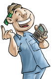 Calculator. The man with calculator royalty free illustration