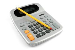 Calculator. Calculator and pencil Royalty Free Stock Image