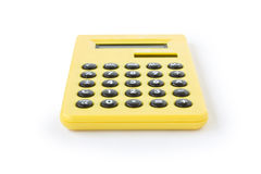 Calculator. One yellow calculator on white background Stock Images