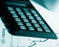 Calculator. Conceptual image; taxes time background Royalty Free Stock Photography