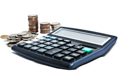 Calculator. With money on white Royalty Free Stock Image