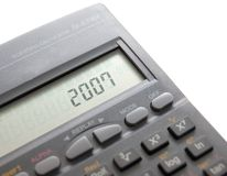 Calculator. Concept, calculator display reading 2007, isolated over white, macro, copyspace Stock Photos