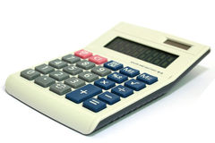 Calculator. Image of a plastic calculator isolated with white background Royalty Free Stock Images