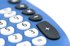 Calculator. Details of buttons on modern blue calculator, white studio background stock photos