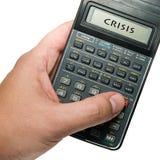 Calculator. Male businessman using a calculator, crisis Royalty Free Stock Photos