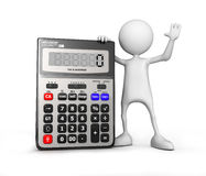 Calculator. Small unrecognizable people on 3D high quality render. Image isolated on white background Royalty Free Stock Photos