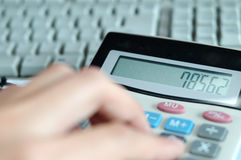 Calculator. A calculator with a PC keyboard Royalty Free Stock Images