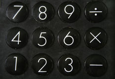 Calculator. In close up showing numbers and symbols Royalty Free Stock Image