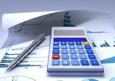 Calculator. A calculator and a chromed pen on a financial chart sheet Royalty Free Stock Photos