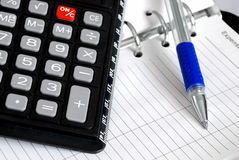Calculator. Close up of Calculator and pen Royalty Free Stock Photography