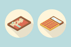 Calculator And Abacus Calculation Flat Icon With Long Shadow. Vector Illustration Stock Photography