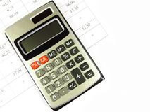Calculator and account. Calculator close-up isolated on the account Stock Photo