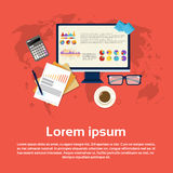 Calculator Accountant Analysis Computer Finance Diagram Web Banner. Flat Vector Illustration Royalty Free Stock Photo