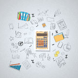 Calculator Accountant Business Doodle Hand Draw Royalty Free Stock Images