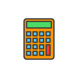 Calculator, Accounting filled outline icon. Line vector sign, linear colorful pictogram isolated on white. Symbol, logo illustration. Pixel perfect vector Stock Image