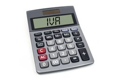 Calculator with acronym IVA - spanish and italian VAT royalty free stock photo