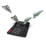 Calculator and airplanes of dollar and euro Royalty Free Stock Photos