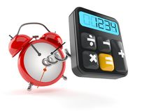 Calculator with alarm clock. On white background Royalty Free Stock Photos