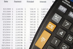 Calculator and Amortization Table royalty free stock photos