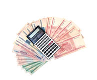 Calculator on the background of banknotes of Belarusian rubles Stock Image