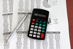 Calculator and Balance Sheets Stock Images