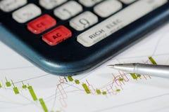 Calculator, ball-point pen, and data analysis chart