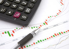 Calculator and ballpoint on financial chart Stock Photography
