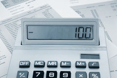 Calculator on a bank statement Stock Photography