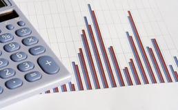 Calculator and bar chart stock photos