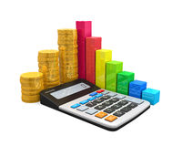 Calculator with Bar Graph and Coins Royalty Free Stock Images