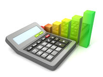 Calculator and bar graph diagram. Business concept Stock Images