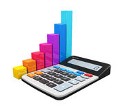 Calculator with Bar Graph Royalty Free Stock Image