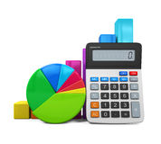 Calculator with Bar Graph and Pie Chart Royalty Free Stock Photos