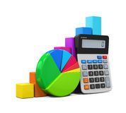Calculator with Bar Graph and Pie Chart Royalty Free Stock Image