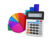 Calculator with Bar Graph and Pie Chart. Isolated on white background. 3D render Stock Photo