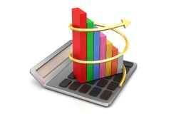 Calculator and bar graph Stock Images