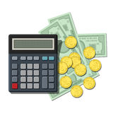 Calculator on bills and coins Stock Photos
